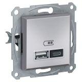 Double socket outlet, 2.4A, 5VDC, aluminium, USB, EPH2700361