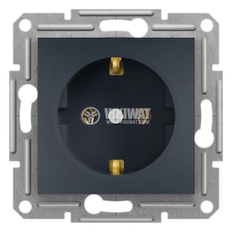 Електрически контакт, 16A, единичен, антрацит, шуко, EPH2900171