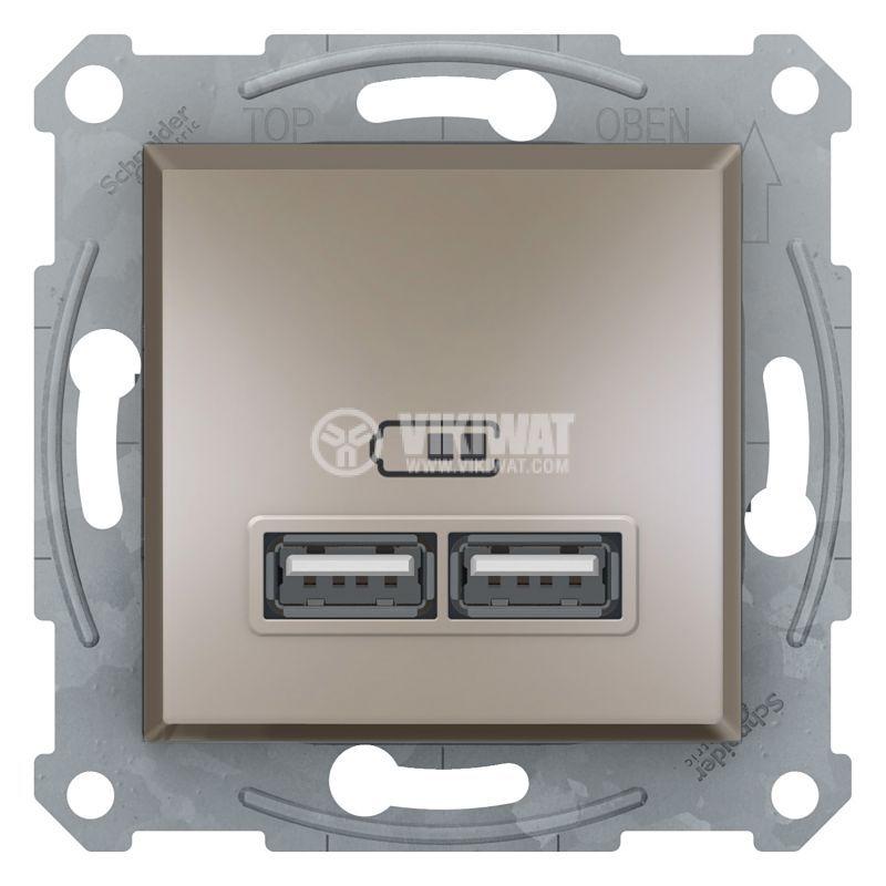 Електрически контакт, 2.1A, 5VDC, двоен, бронз, USB, EPH2700269