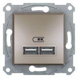 Double socket outlet, 2.1A, 5VDC, bronze, USB, EPH2700269