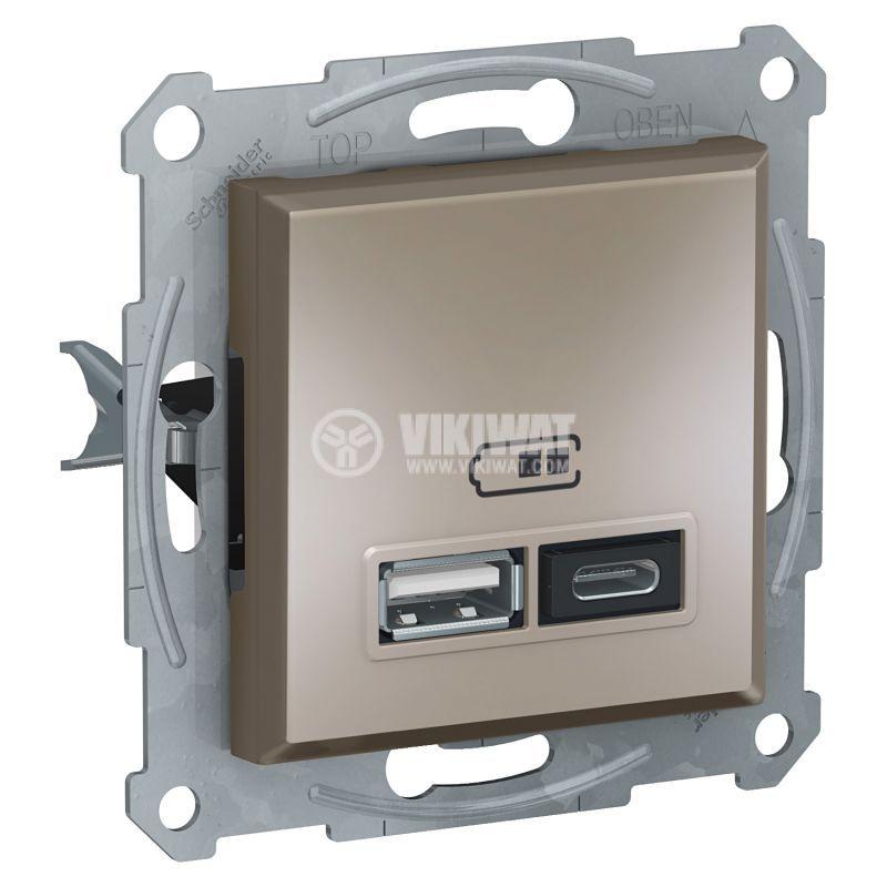 Електрически контакт, 2.4A, 5VDC, двоен, бронз, USB, EPH2700369