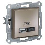 Double socket outlet, 2.4A, 5VDC, bronze, USB, EPH2700369