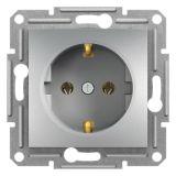 Single socket outlet, 16A, aluminium, schuko, EPH2900161
