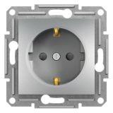 Single socket outlet, 16A, aluminium, schuko, EPH2900261