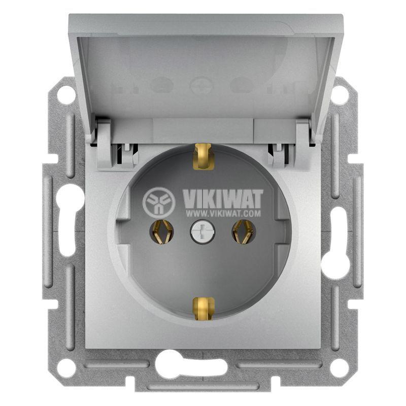 Електрически контакт, 16A, единичен, алуминий, шуко, EPH3100161