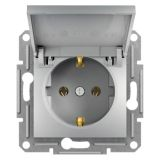 Single socket outlet, 16A, aluminium, schuko, EPH3100161