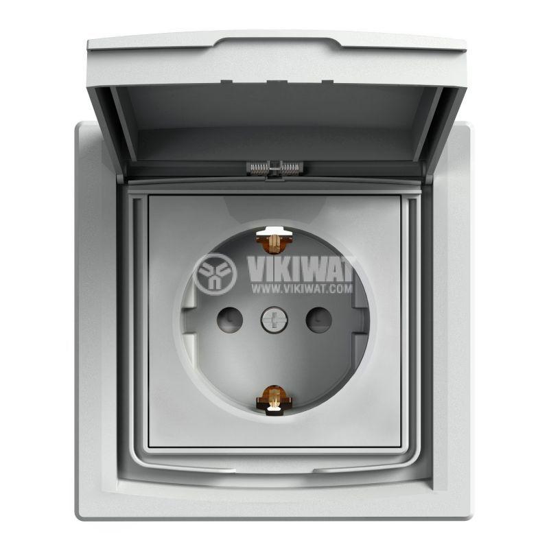 Електрически контакт, 16A, единичен, алуминий, шуко, EPH3100361