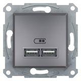 Double socket outlet, 2.1A, 5VDC, steel, USB, EPH2700262