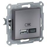 Double socket outlet, 2.4A, 5VDC, steel, USB, EPH2700362