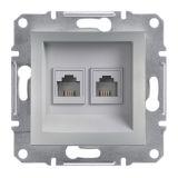 Розетка двойна, RJ11, цвят алуминий, EPH4200161
