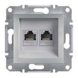 Розетка двойна, RJ45, цвят алуминий, EPH4800161