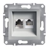 Розетка двойна, RJ45, цвят алуминий, EPH4900161