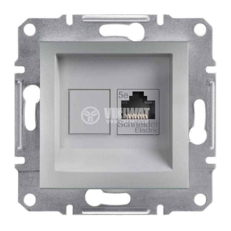 Розетка единична, RJ45, цвят алуминий, EPH4300161