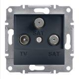 Розетка тройна, TV, SAT, цвят антрацит, EPH3600171