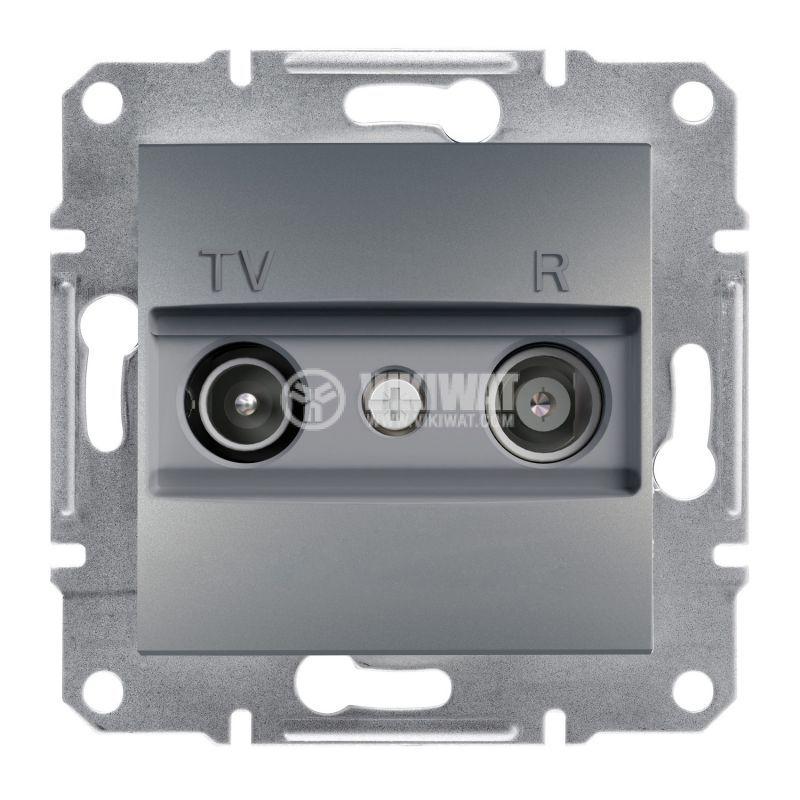 Розетка двойна, TV, радио, цвят стомана, EPH3300162