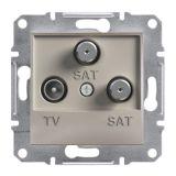 Розетка тройна, TV, SAT, цвят бронз, EPH3600169