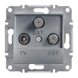 Розетка тройна, TV, SAT, цвят стомана, EPH3600162