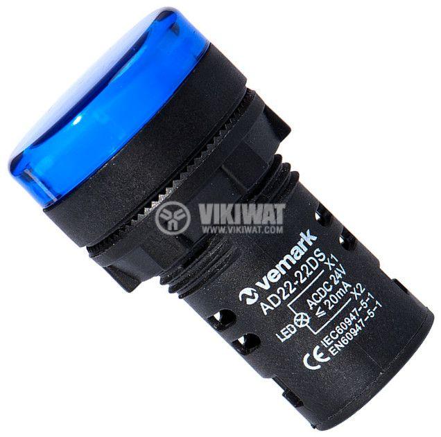 Индикаторна лампа LED, AD22-22DS/B, 24VAC/VDC, синя - 1