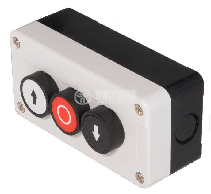 Triple Push Button, B311H29, 240VAC, 6A, SPST-NO + NC + NO - 1
