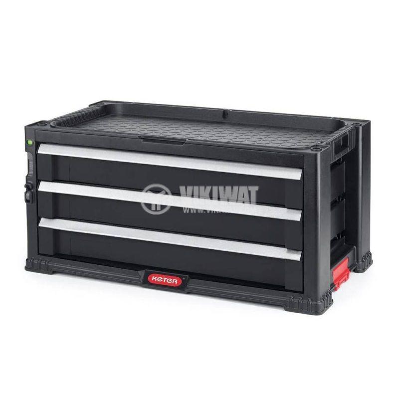 Шкаф за инструменти с три чекмеджета, 562x289x262mm, пластмаса, KETER - 1