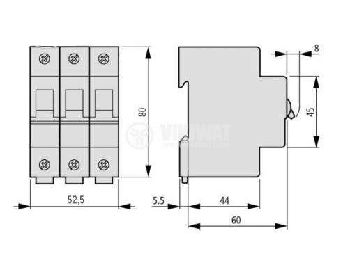 Предпазител, автоматичен, еднополюсен, 1x25A, CLS6 Moeller, B крива, DIN шина - 2