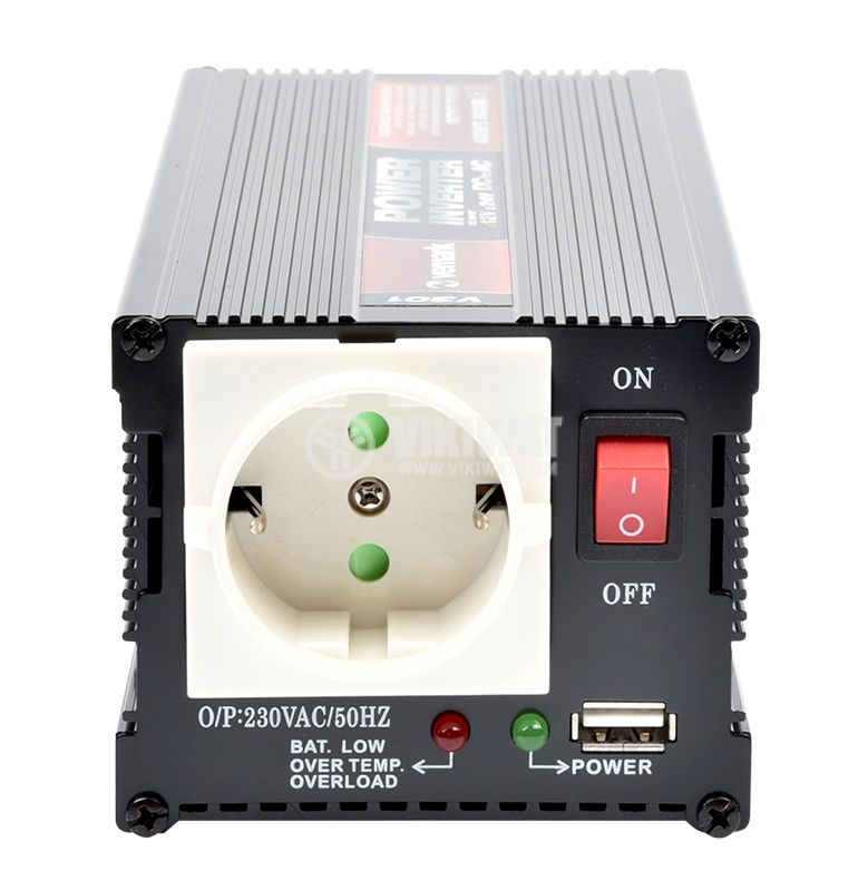 Инвертор V301-400W-12V, 12VDC - 220VAC, 400W, модифицирана синусоида, с USB - 3