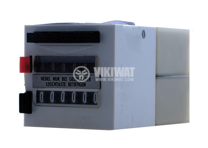 Electromechanical Impulse Counter, ZLVt 241, 24 VDC, 2 x 6 digits, from 1 to 999,999 pulses, NO + NC, programmable - 1