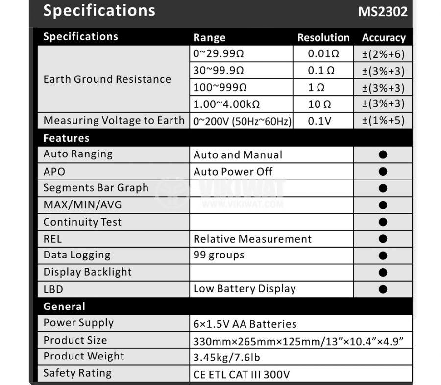 Уред MS2302 за измерване на земно съпротивление, 0.01 Ohm - 4000 Ohm - 2