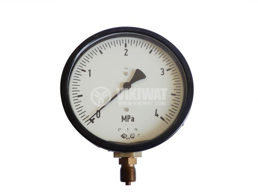 Манометър, индикаторен, аналогов, Ф100 x 45mm, 0 - 4 Mpa - 1