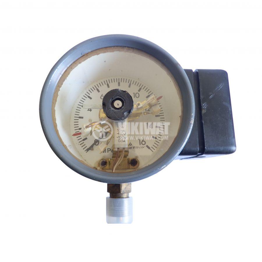 Манометър, контактен, аналогов, Ф100 x 85mm, 0 - 16Mpa, 1NC + 1NO, 150VAC, 0.5A