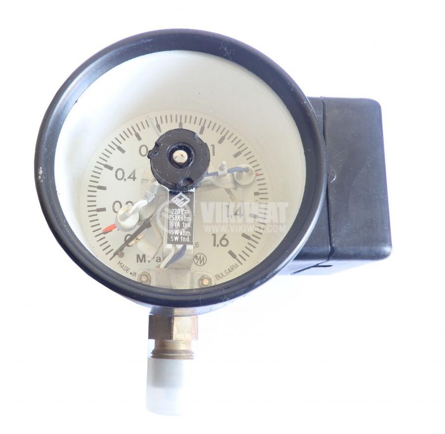 Gauge, ignition, analog, 100mm x 85mm, 0 - 1.6Mpa, 1NC + 1NO, 220VAC, 0.06A