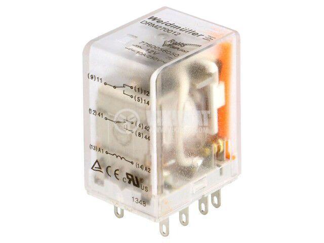 Реле електромагнитно 7760056050, бобина 12VDC, 10A, 250VAC, DPDT