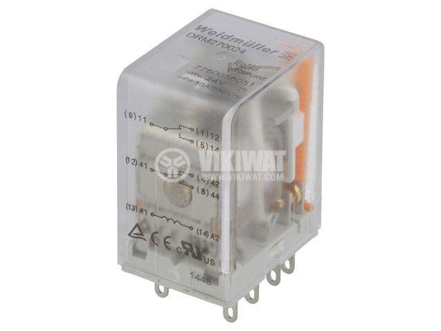 Реле електромагнитно 7760056051, бобина 24VDC, 10A, 250VAC, DPDT