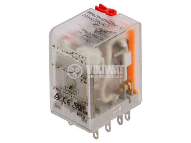 Реле електромагнитно 7760056073, бобина 24VAC, 10A, 250VAC, DPDT