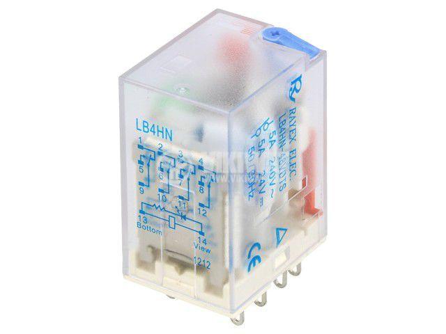 Реле електромагнитно LB4HN-48DTS, бобина 48VDC, 5A, 240VAC, 4PDT