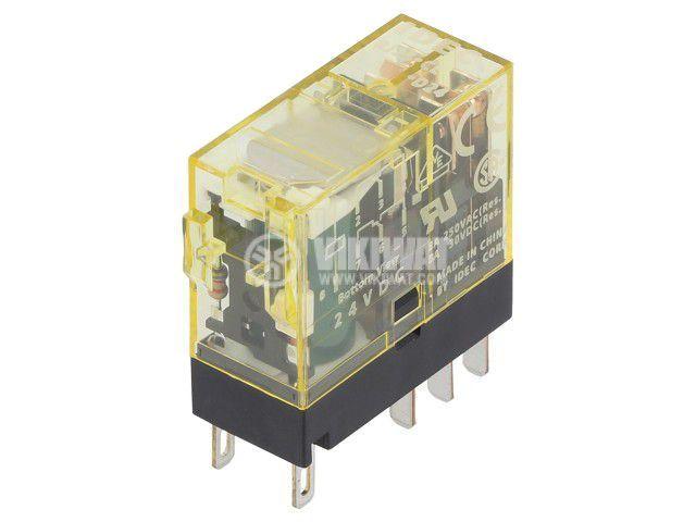 Реле електромагнитно RJ2S-CL-D24, бобина 24VDC, 8A, 250VAC, DPDT