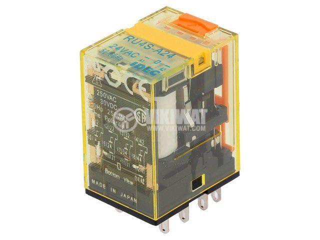 Реле електромагнитно RU4S-A24, бобина 24VAC, 6A, 250VAC, 4PDT