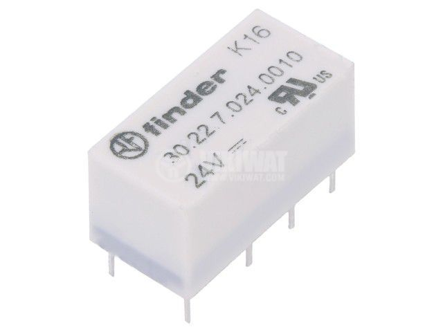 Реле електромагнитно 30.22.7.024.0010, бобина 24VDC, 3A, 125VAC, DPDT