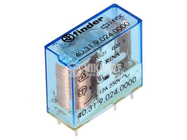 Реле електромагнитно 40.31.9.024.0000, бобина 24VDC, 20A, 250VAC, SPDT
