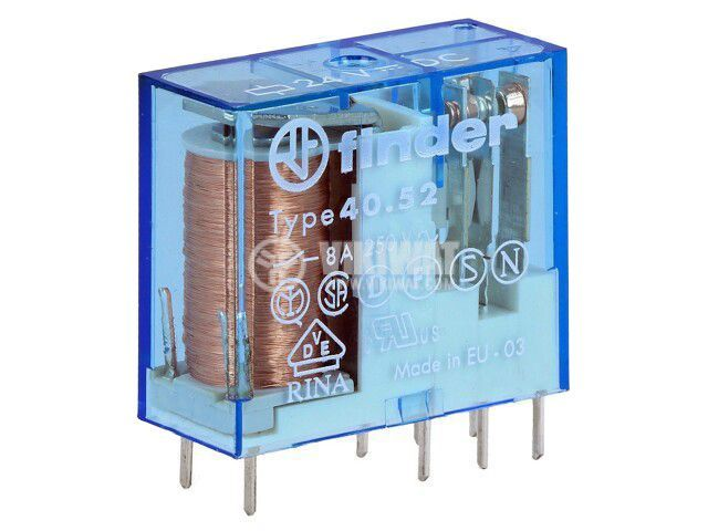 Реле електромагнитно 40.52.9.024.0000, бобина 24VDC, 15A, 250VAC, DPDT