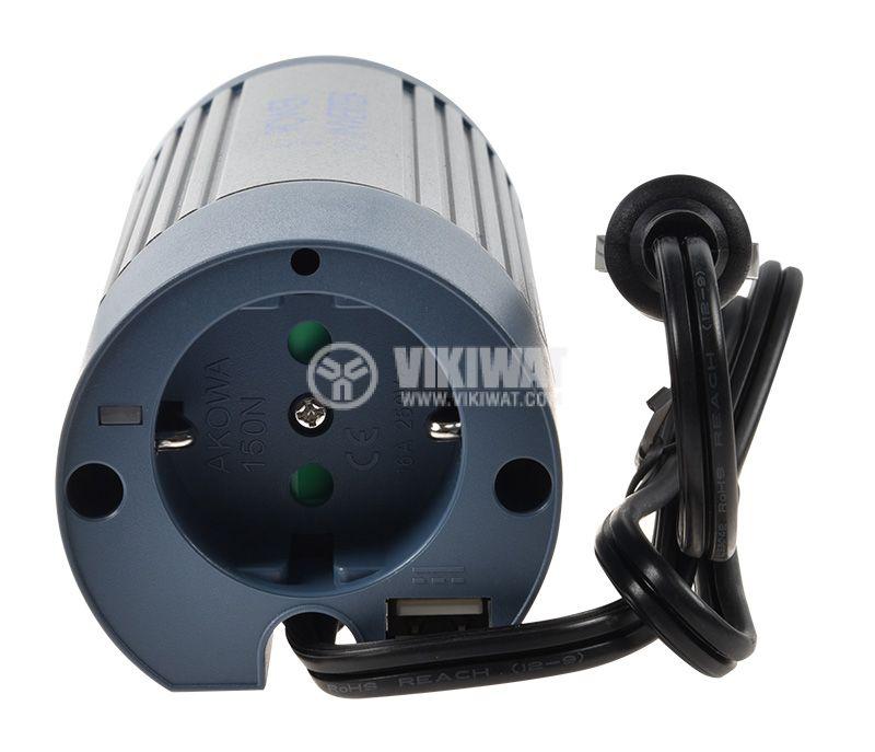 Инвертор A301-150N-24, 24VDC - 220VAC, 150W + USB, модифицирана синусоида - 3