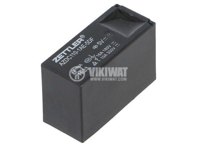 Реле електромагнитно AZDC110-1AE-5DF, бобина 5VDC, 16A, 300VAC, SPST