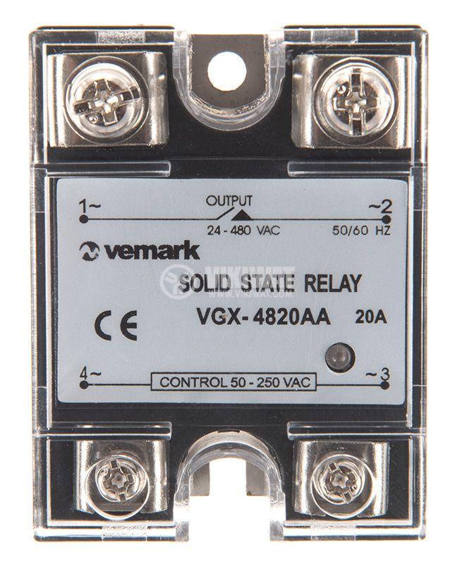 Солид стейт реле, SSR-JGX-4820AA, полупроводниково, 50-250VAC, товароносимост 20A/480VAC - 1