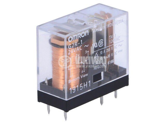 Реле електромагнитно G2R-1 24VAC, бобина 24VAC, 10A, 250VAC, SPDT