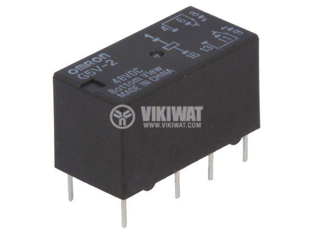 Реле електромагнитно G5V-2 48VDC, бобина 48VDC, 2A, 125VAC, DPDT