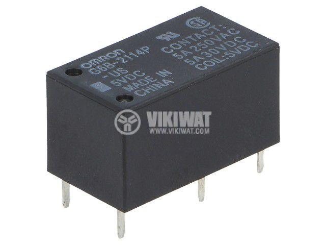 Реле електромагнитно G6B-2114P-US 5VDC, бобина 5VDC, 5A, 250VAC