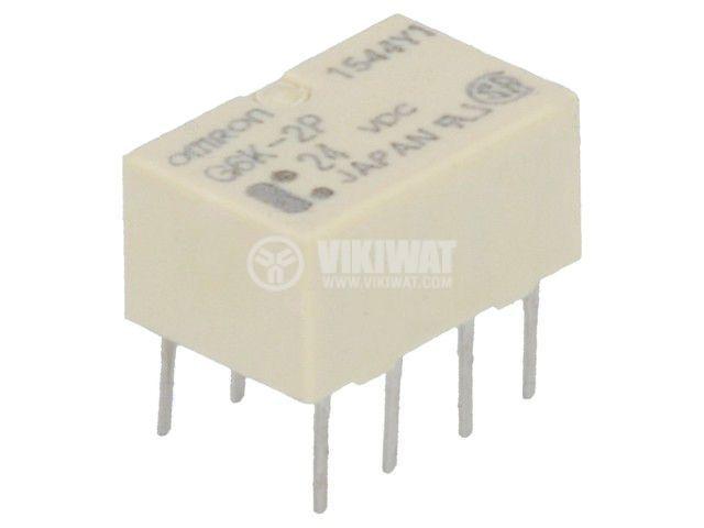 Реле електромагнитно G6K-2P 24VDC, бобина 24VDC, 1A, 125VAC, DPDT
