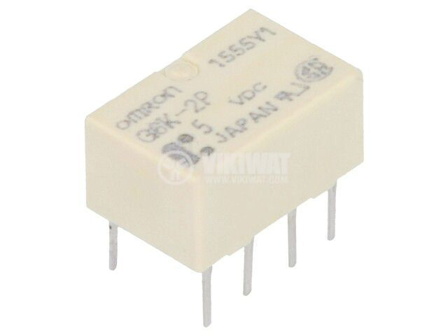 Реле електромагнитно G6K-2P 5VDC, бобина 5VDC, 1A, 125VAC, DPDT