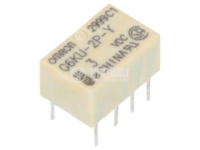 Реле електромагнитно G6KU-2P-Y DC3, бобина 3VDC, 1A, 125VAC, DPDT