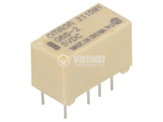 Реле електромагнитно G6S-2 5VDC, бобина 5VDC, 2A, 125VAC, DPDT